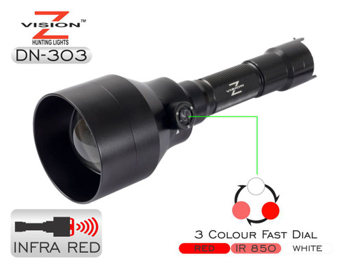 Z-Vision - DN-303 - IR illuminator Combo (Red, White, 850nm IR) Infra Red Flashlight and Torch for night hunting with distance chart
