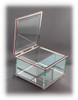 """Glass Jewelry Box, Engravable Glass, w/Non-Tarnishing Silver Trim,  3-1/4"""" Square x 2-1/4"""" Tall, w/Hinged Glass Top"""