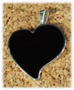830BO: Black Onyx Heart Pendant Mounted in Sterling Sliver, Engravable Area, 1-3/16 inch x 3/4 inch.