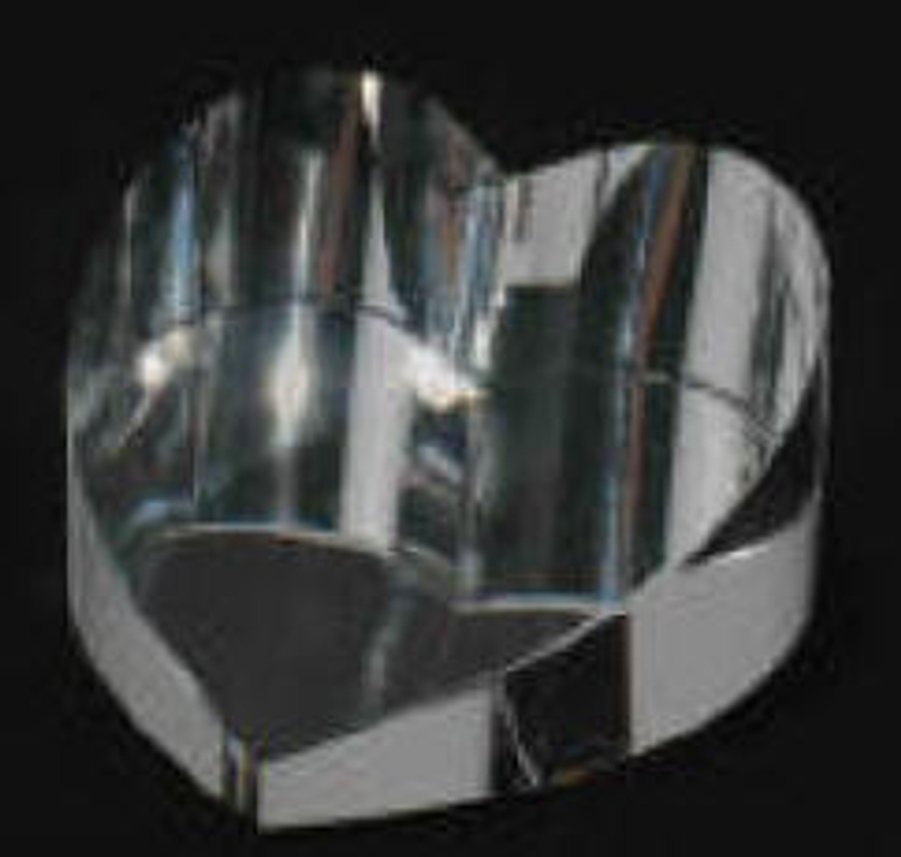 61862, Optical Clear Slanted Crystal Glass Heart