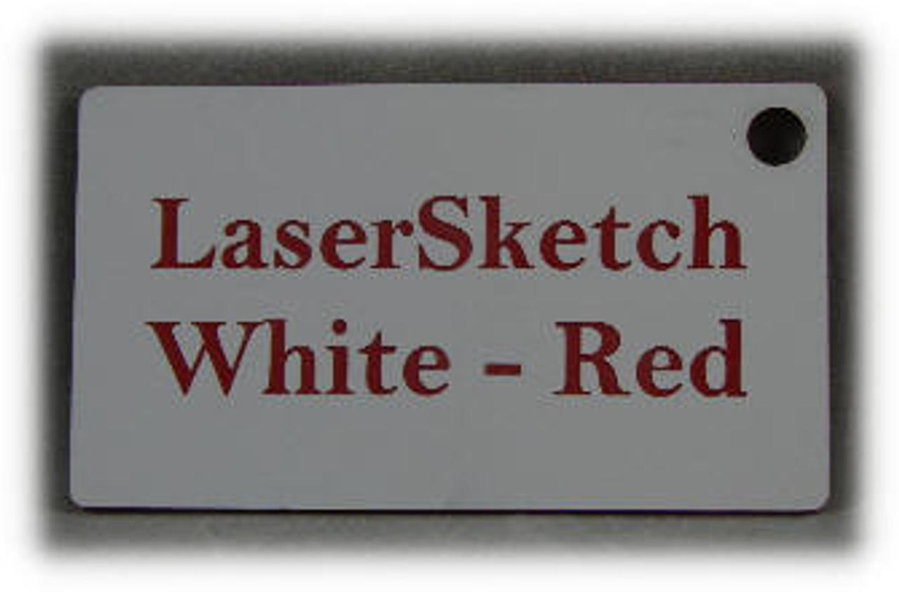 """White-Red: Front surface White, Engravable Letters Red, 24"""" x 12"""" x 1/16"""""""