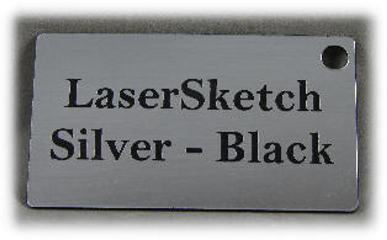 "Silver-Black: Front surface Silver, Engravable Letters Black, 24"" x 12"" x 1/16"""