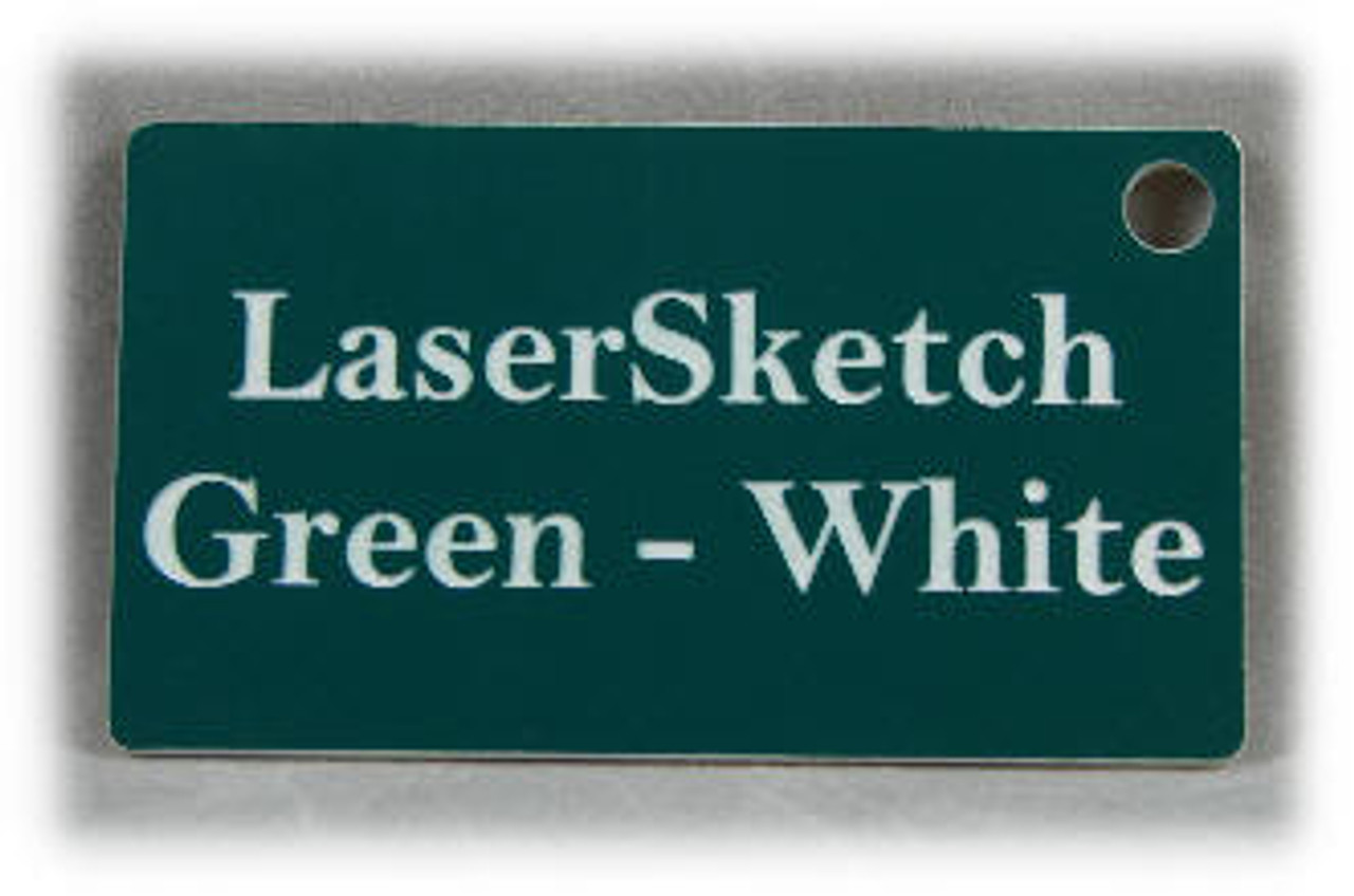 """Green-White: Front surface White, Engravable Letters Red, 24"""" x 12"""" x 1/16"""""""
