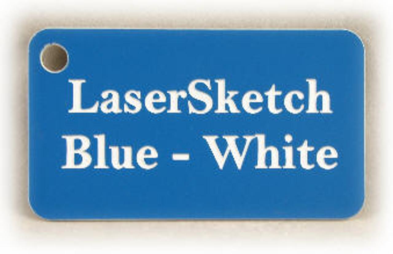 """Blue-White: Front surface Blue, Engravable Letters White, 24"""" x 12"""" x 1/16"""""""
