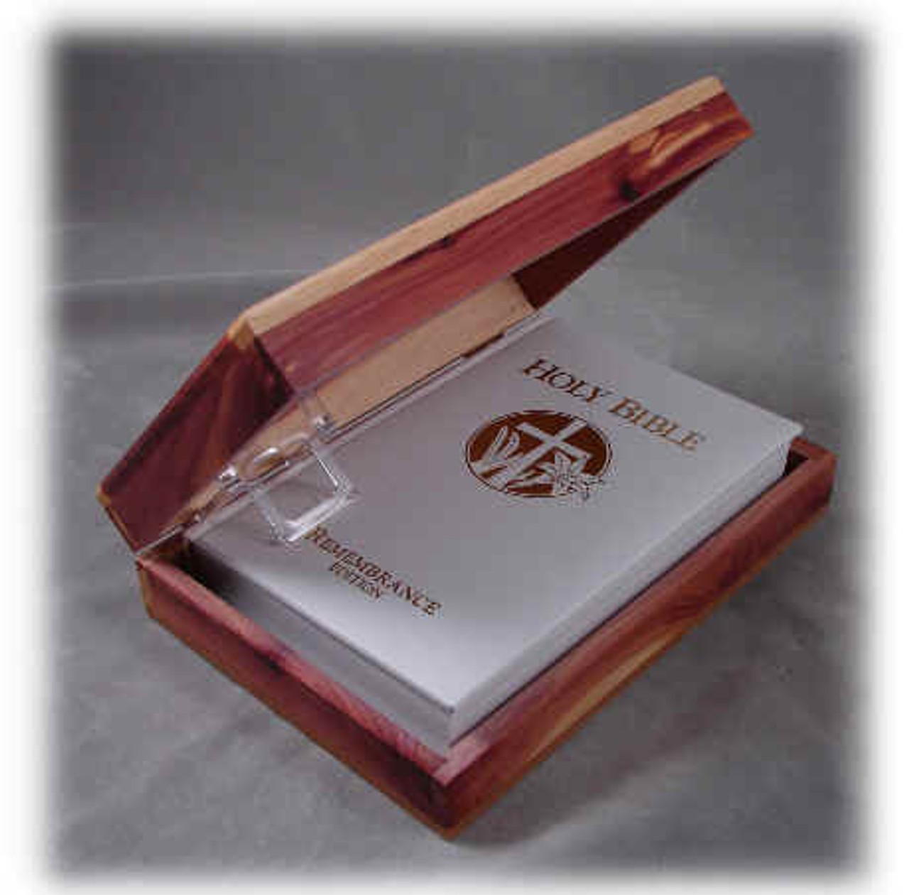 Cedar Bible Box w-King James version Bible, White Cover Only: