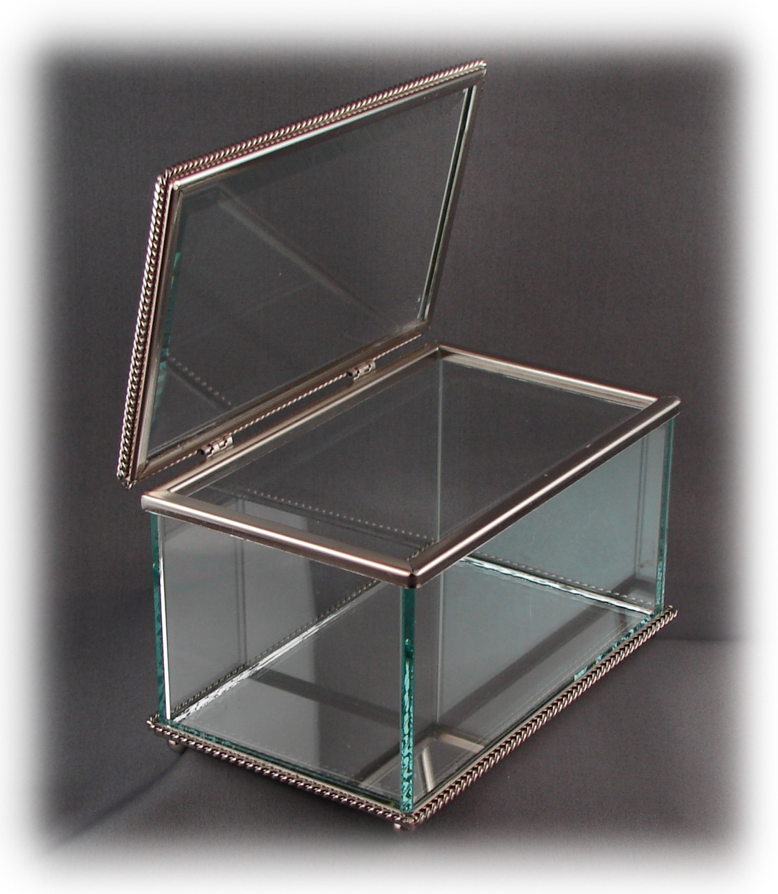 "Glass Jewelry Box, Engravable Glass, w/Non-Tarnishing Silver Trim, 8"" x 3-3/4"" x 3"" Tall, w/Hinged Glass Top"