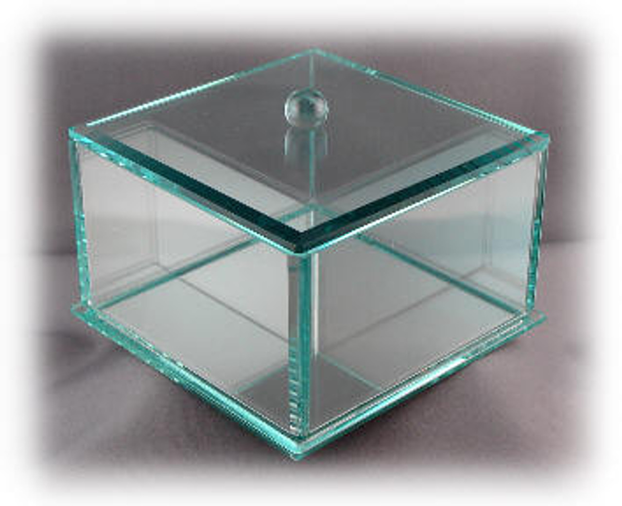 NEW:Beveled Laser Engravable Green Glass Jewelry Box