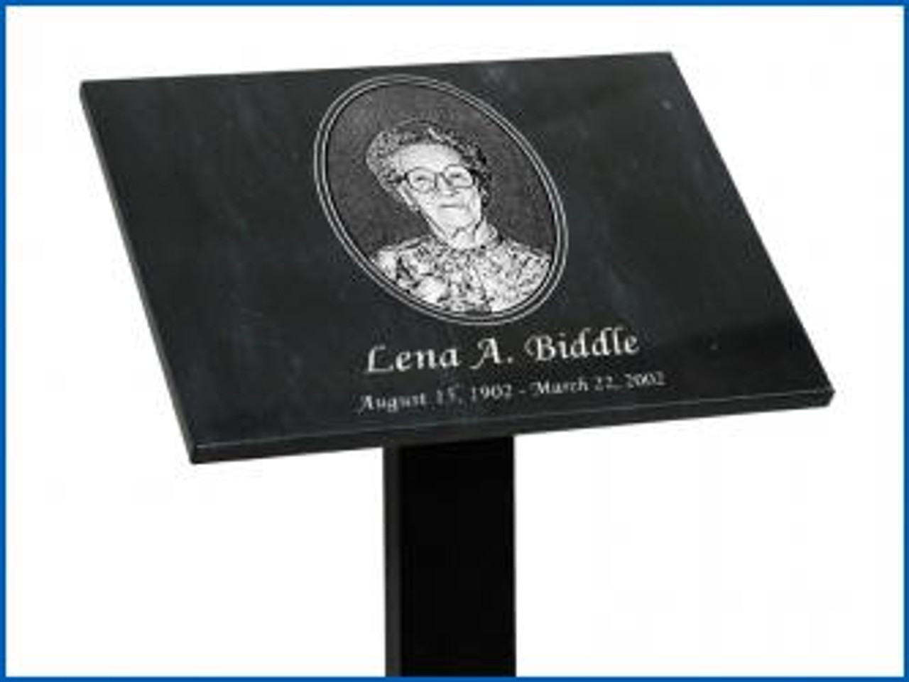 "Tribute Stand with a 3"" x 5"" Horizontal Plaque Plate and 48"" long  post"