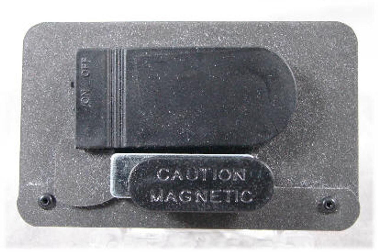 Back-Side of LED Name Badge illustrating Magnetic Clip