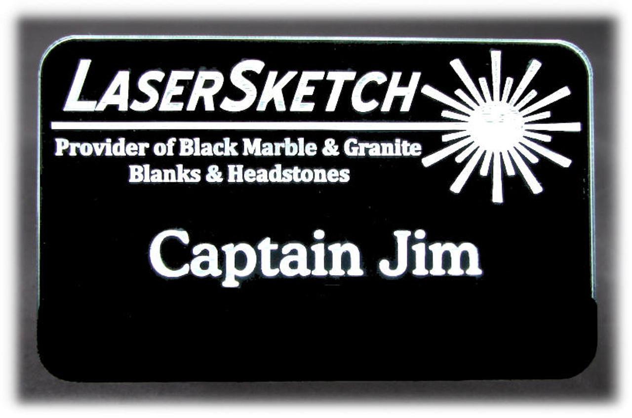 "Lighted Laser Engraved LED Name Badge ""On"""
