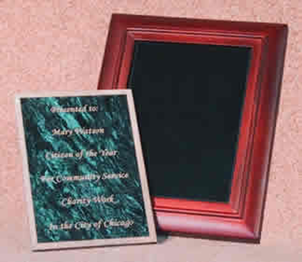 "PM-68ABM, Overall Size, 9"" x 11"", Recessed Size, 6"" x 8"" x 5/16"", w/Absolute Black Marble Plaque"