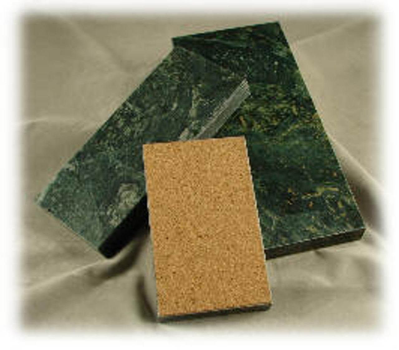 "M-DG-4x9PB: Dark Green Marble,   4"" x 9"" x 3/4"" Pen Base or Paper Weight, 5-Surface Polished with a Cork Pad Bottom"