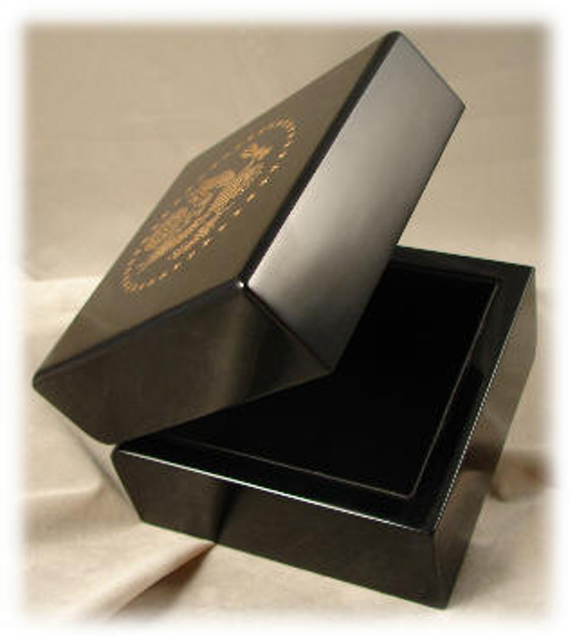 "817: Black Piano Finished Box, with Black Leather Lining,  4-1/2"" x 4-1/2"" x 3-1/4"""
