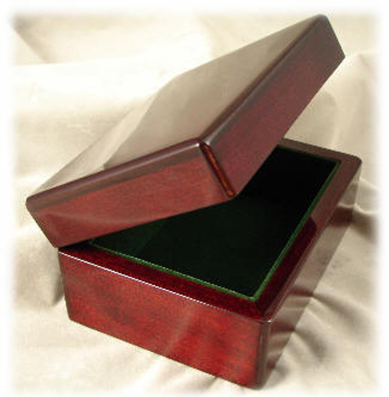 "1170R: Red Piano Finished Mahogany Box, with Green Velvet Felt Lining, 6"" x 4-3/8"" x 3"""