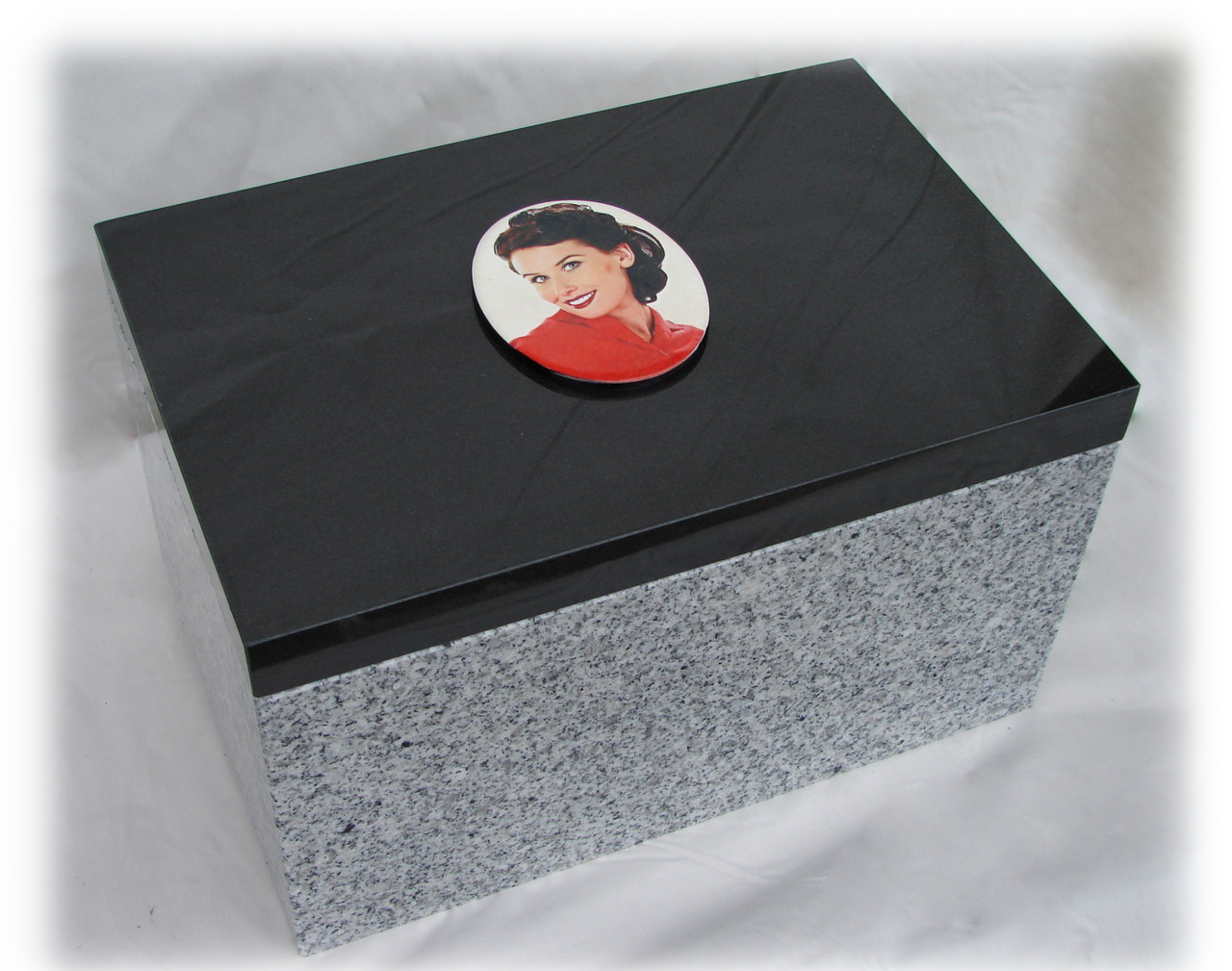 """China White Granite Base Dimensions, 18"""" long x 12"""" wide x 6"""" tall with cut out 5"""" deep, ~1"""" walls. Top Cove, LaserGrade MB Black Granite,  18"""" x 12"""" x 1"""": Holds a live weight of 750 pounds"""