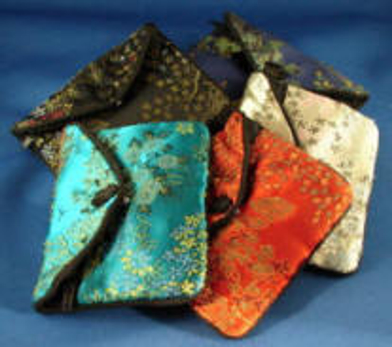 """L-SJP:  Large Silk Jewelry Pouch, Snap Cover over zipper pouch, w/three pockets inside. 4-1/4"""" x 3-1/4"""""""