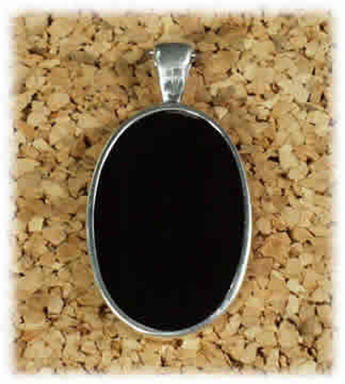 176BO: Black Onyx Small Oval Pendant Mounted in Sterling Sliver w/Open Back, Engravable Area, 1-1/8 inch x 3/4 inch.