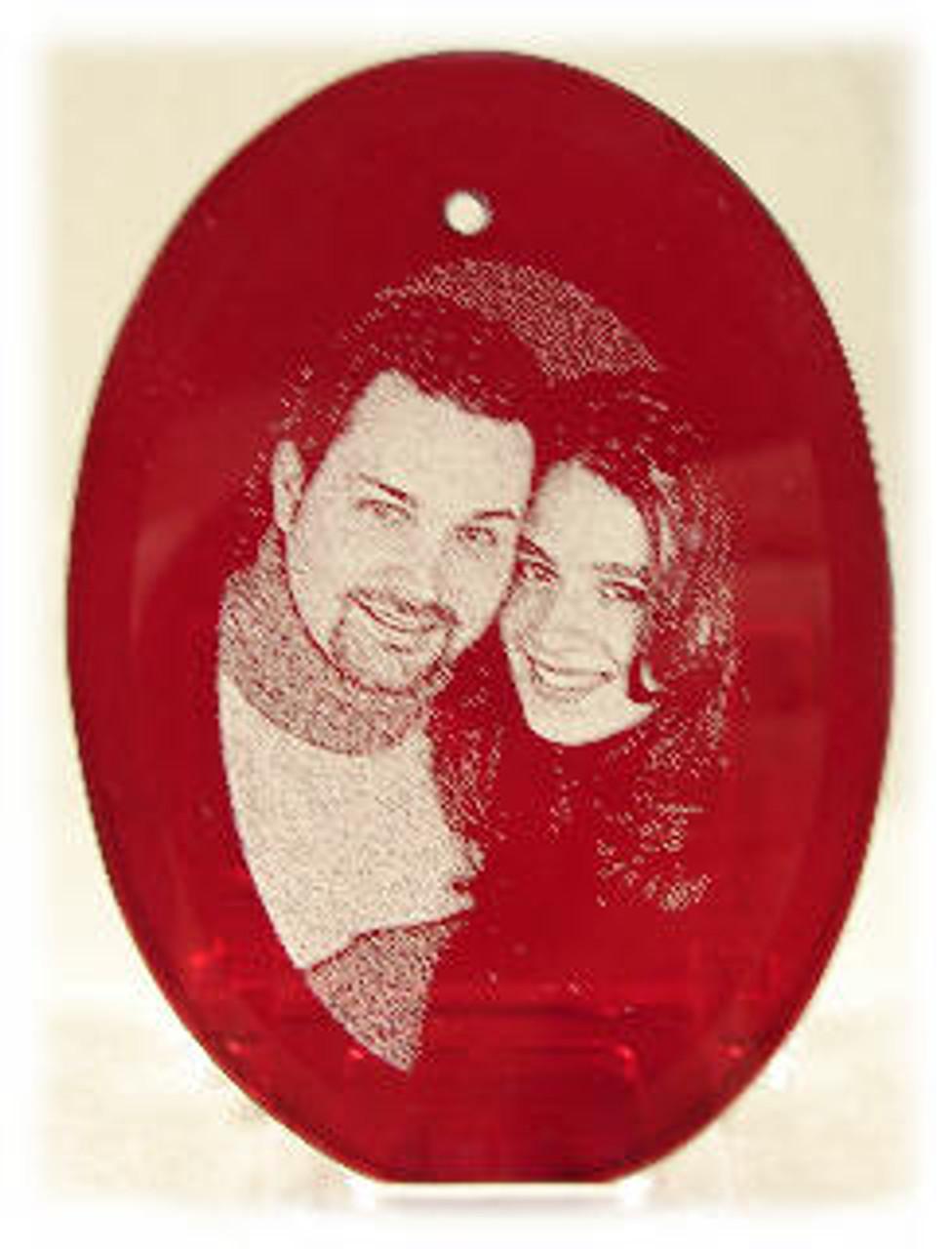 Red Crystal Beveled Oval Shape Ornament with Velvet Bag