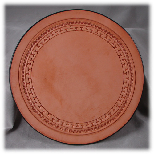 Rich Tan Leather, 8 inch Diameter Pad, Tooled