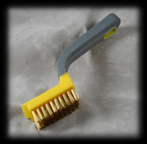 Brass brush used to clean LaserBrick