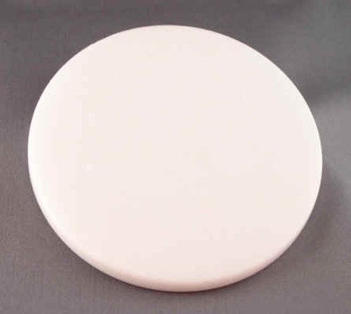 M-WH-4DiaEP: Imperial White Marble, 4 inches in diameter x 7-8mm thick, Polished on all surfaces, (6F)