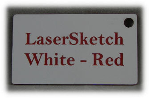 "White-Red: Front surface White, Engravable Letters Red, 24"" x 12"" x 1/16"""
