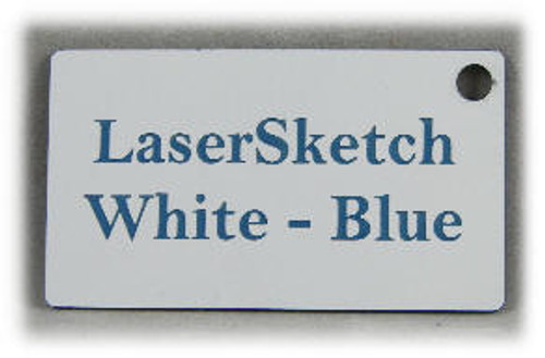 "White-Blue: Front surface White, Engravable Letters Blue, 24"" x 12"" x 1/16"""