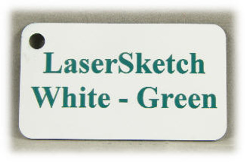 "White-Green: Front surface White, Engravable Letters Red, 24"" x 12"" x 1/16"""