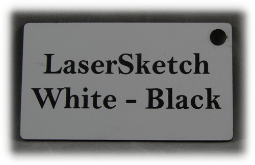 "White-Black: Front surface White, Engravable Letters Black, 24"" x 12"" x 1/16"""
