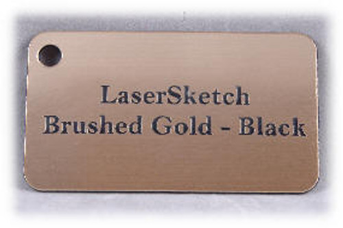 "Brushed Gold Black: Front surface Brushed Gold, Engravable Letters Black, 24"" x 12"" x 1/16"""