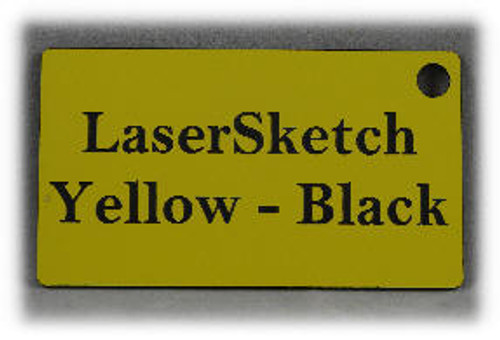 "Yellow-Black: Front surface Yellow, Engravable Letters Black, 24"" x 12"" x 1/16"""