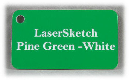 "Pine Green-White: Front surface White, Engravable Letters Red, 24"" x 12"" x 1/16"""