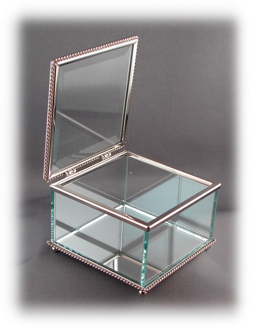 "Glass Jewelry Box, Engravable Glass, w/Non-Tarnishing Silver Trim,  3-3/4"" Square x 2-1/4"" Tall, w/Hinged Glass Top"
