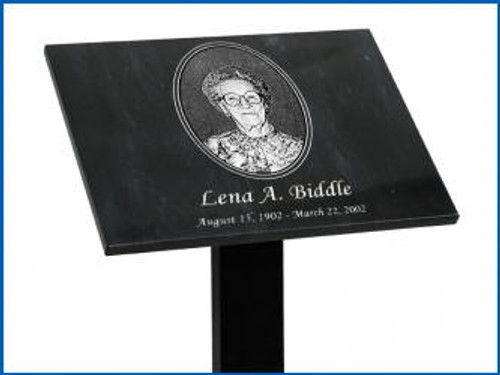 """Tribute Stand with a 3"""" x 5"""" Horizontal Plaque Plate and 48"""" long  post"""