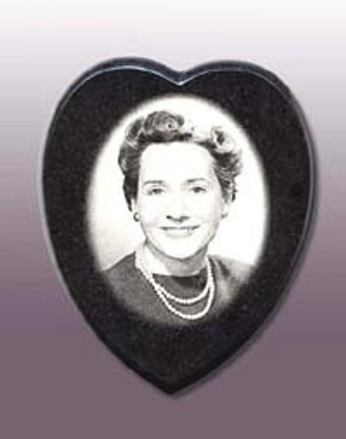"S-BD-9 Heart-ASP: Black Diamond Granite, 9"" Heart x 9mm"