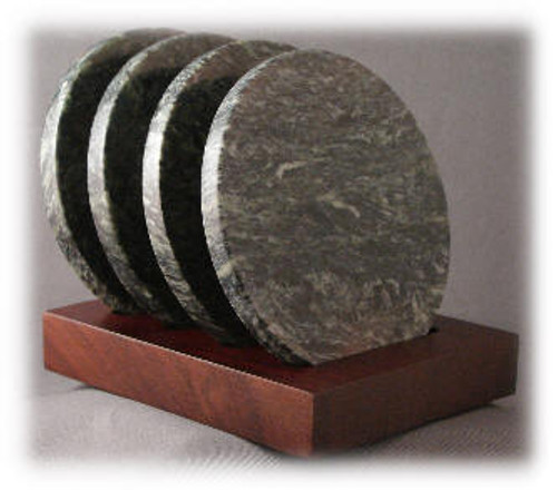 M-DG-4DiaASP-Holder: Mahogany Holder with 4-4 inch Diameter x 8mm Round Dark Green Marble Coasters