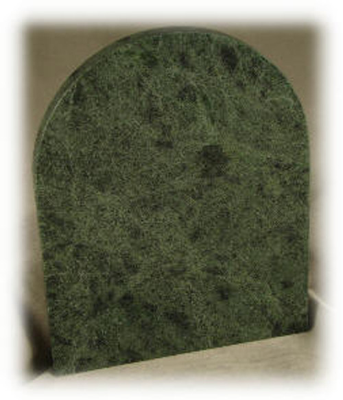 "M-DG-4-1/2"" x 5-3/4"" x  3/8"" ASP: Dark Green Marble Plaque w/Rounded Top"