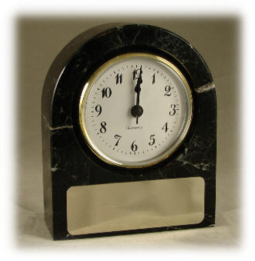 "Mosa Black Marble Base & Clock - Mosa Black  Marble, All Sides Polished, with Quartz Crystal Clock Movement, w-Gold Laser Engravable Metal Plate,  4"" x 5"" x 1""-9/16"""