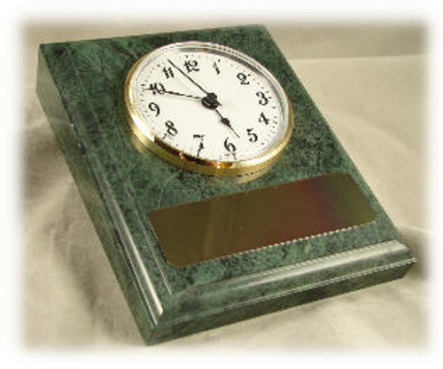 Dark Green Marble Base & Clock -