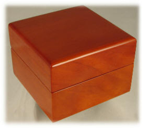 "816: Birch Piano Finished Box, with White Leather Lining,  4-1/2"" x 4-1/2"" x 3-1/4"""