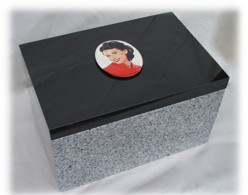 "China White Granite Base Dimensions, 16"" long x 8"" wide x 6"" tall with cut out 5"" deep, ~1"" walls. Top Cove, LaserGrade MB Black Granite,  16"" x 8"" x 1"": Holds a live weight of 400 pounds."
