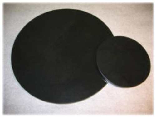 "M-AB-6DiaASP: LaserGrade Absolute Black Marble, 6"" Round  x 7mm,  All Surfaces Polished, (6F)"