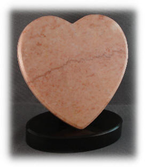 "M-Pink-5HeartASP: LaserGrade Pink  Marble, 5"" Heart x 8mm, ASP,  All Surfaces Polished (6F)"