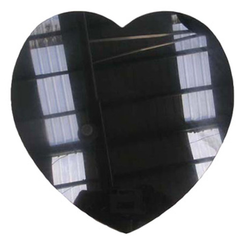 """M-AB-8HeartASP/:  LaserGrade Absolute Black Marble, 8"""" Heart x 8mm, ASP, All Surfaces Polished (6F) - Case of 10"""