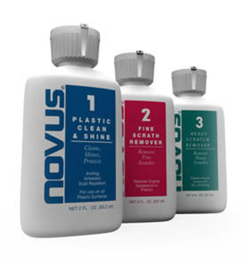 Novus #2: Gently cleans all plastic without scratching. Avaiable in 8oz  Bottle: