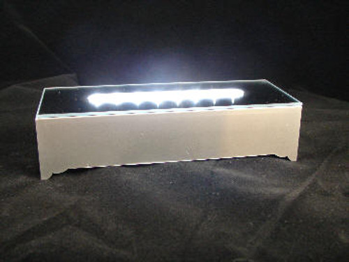 "LED-16: 16 Clear LED Lights in Silver Plastic Mirror Top Base. 6-1/4"" x 2-5/16"" x 1-1/2"""
