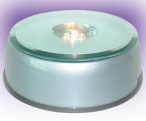 "CXZD-1SB: Rotary Light Base, 4-3/4"" x 4-0"" x 1-3/4"" Tall, Mirror Top, 7-Clear LED Lights"