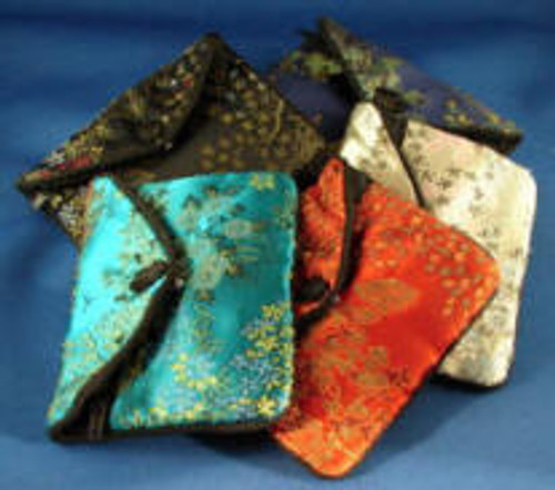 "L-SJP:  Large Silk Jewelry Pouch, Snap Cover over zipper pouch, w/three pockets inside. 4-1/4"" x 3-1/4"""