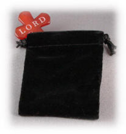 "B5390:  Black Velvet Draw-String Jewelry Pouch, 2-3/4"" x 3"""