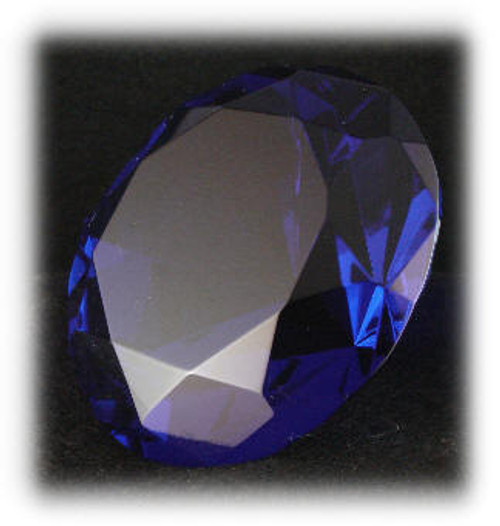 BlCPW-100: Cobalt Blue Crystal Diamond paper Weight, 100mm Diameter, Laser Engravable Area on Top Surface, 100mm x 100mm